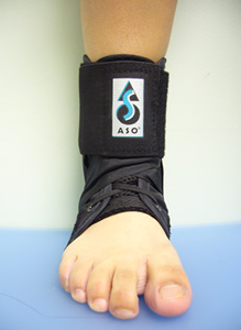 image of lace up ankle brace after complete fitting